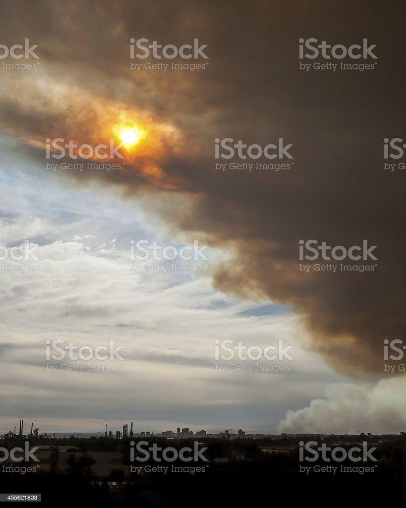 Bushfire Smoke and Sun over Parramatta stock photo