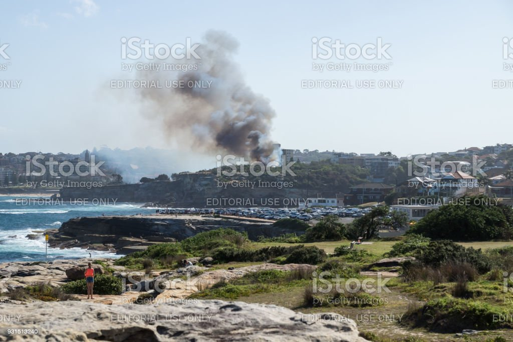 Bushfire with smoke and red flames at Dunningham Reserve stock photo