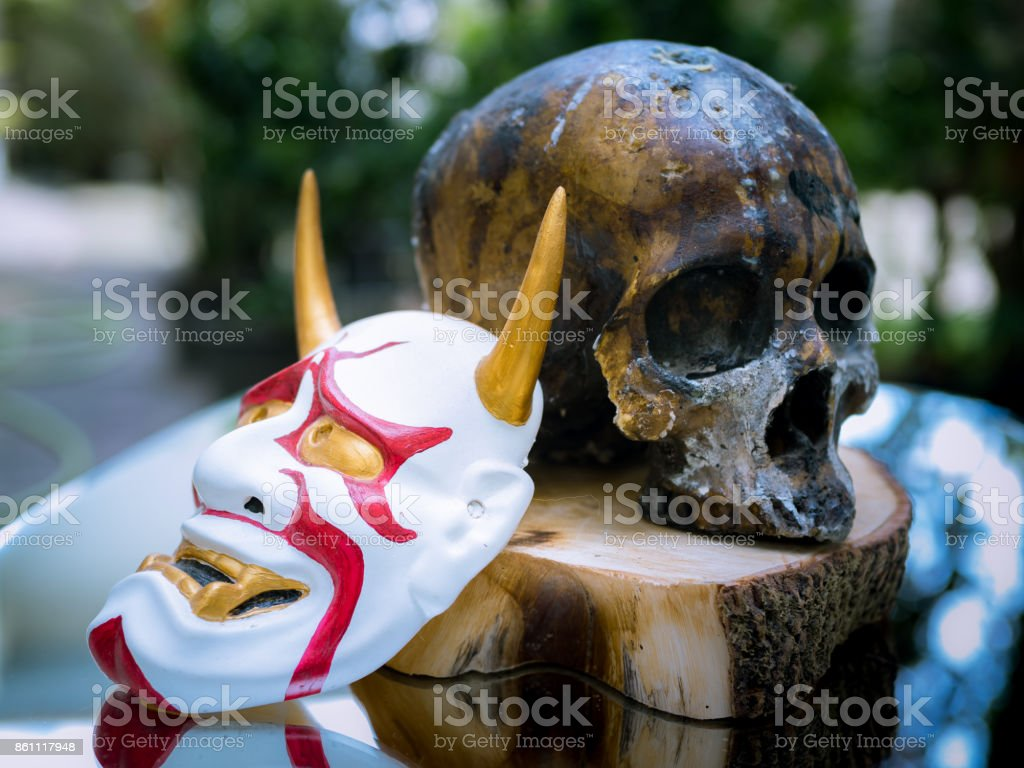 Bushido Warrior and Kabuki Mask concept stock photo