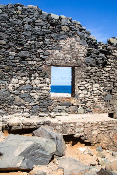Bushiribana Ruins - Gold Smelter Ruins in Aruba stock photo