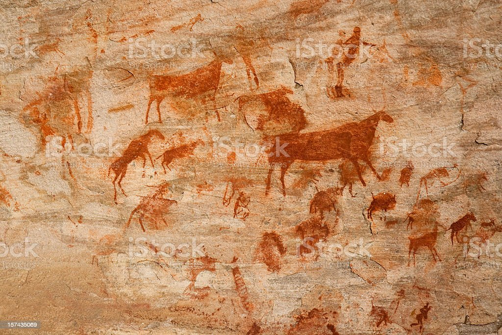 Bushman cave painting stock photo