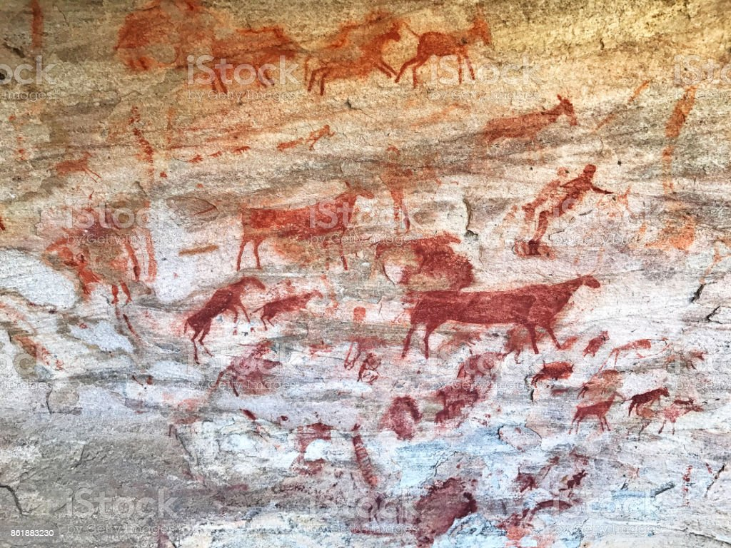 Bushman cave paintings in the Cederberg mountains,south Africa stock photo