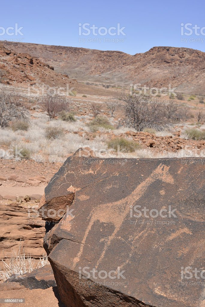 Bushman petroglyphs, Namibia royalty-free stock photo