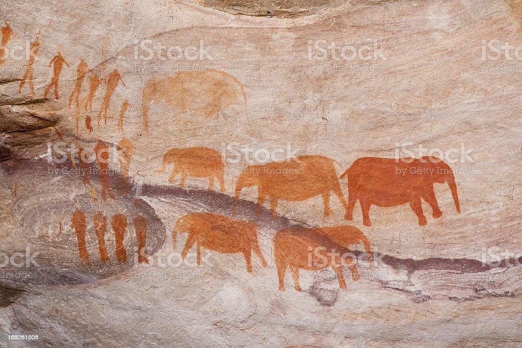 Bushman rock art in South Africa stock photo