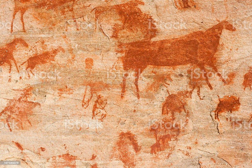 Bushmen cave painting stock photo