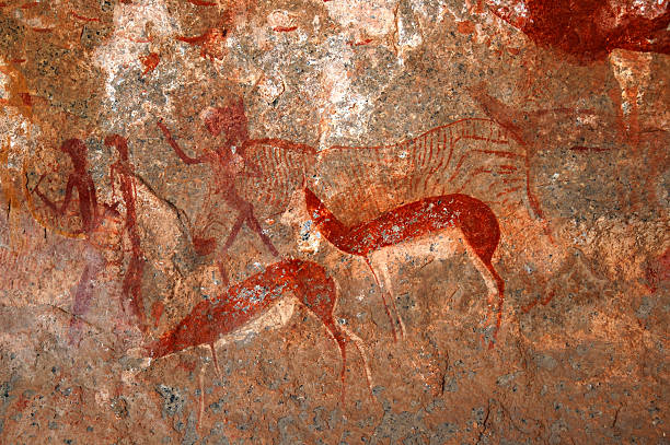 bushmen paintings and rock art - mağara resmi stok fotoğraflar ve resimler