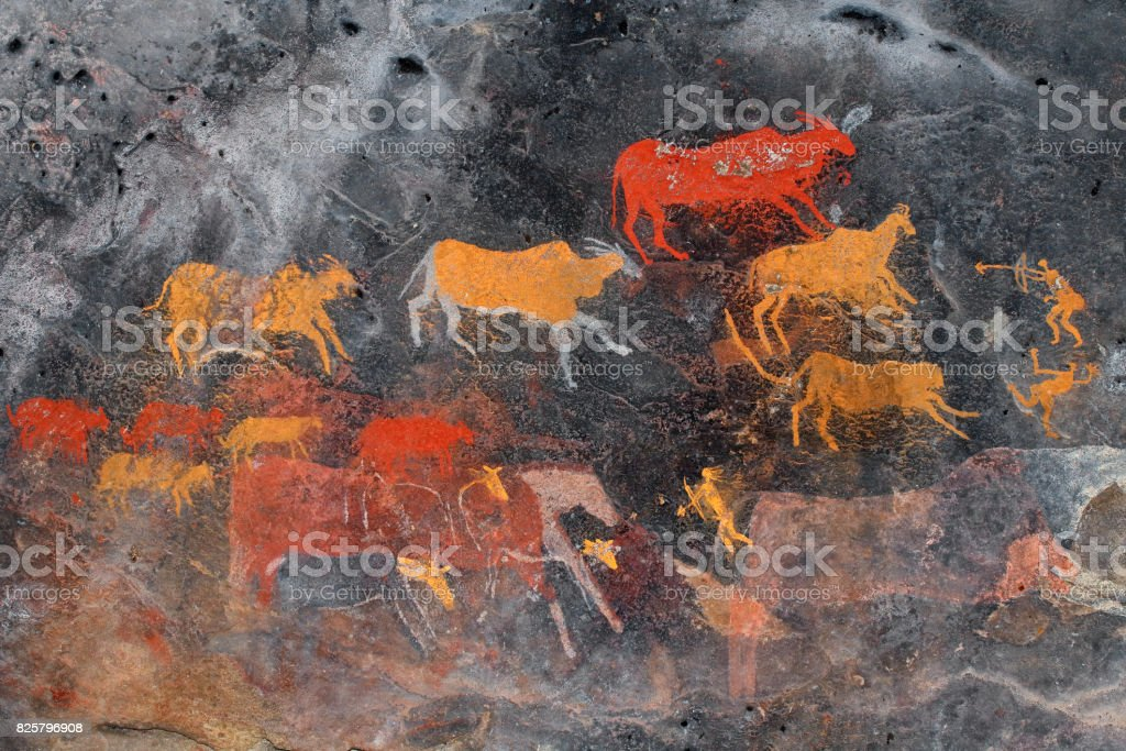 Bushmen (san) rock painting of antelopes stock photo