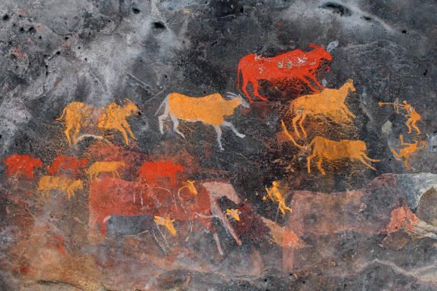 antilop resmini bushmen (san) rock - mağara resmi stok fotoğraflar ve resimler
