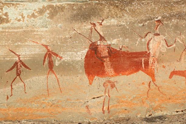 bushmen resim rock - mağara resmi stok fotoğraflar ve resimler