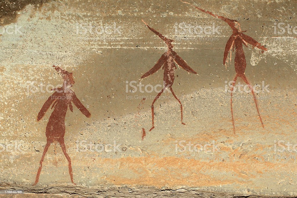 Bushmen rock painting royalty-free stock photo