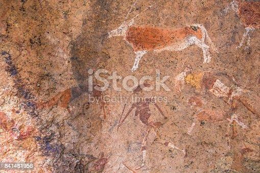 istock Bushmen rock paintings in the  Brandberg massif area, Namibia 841481956