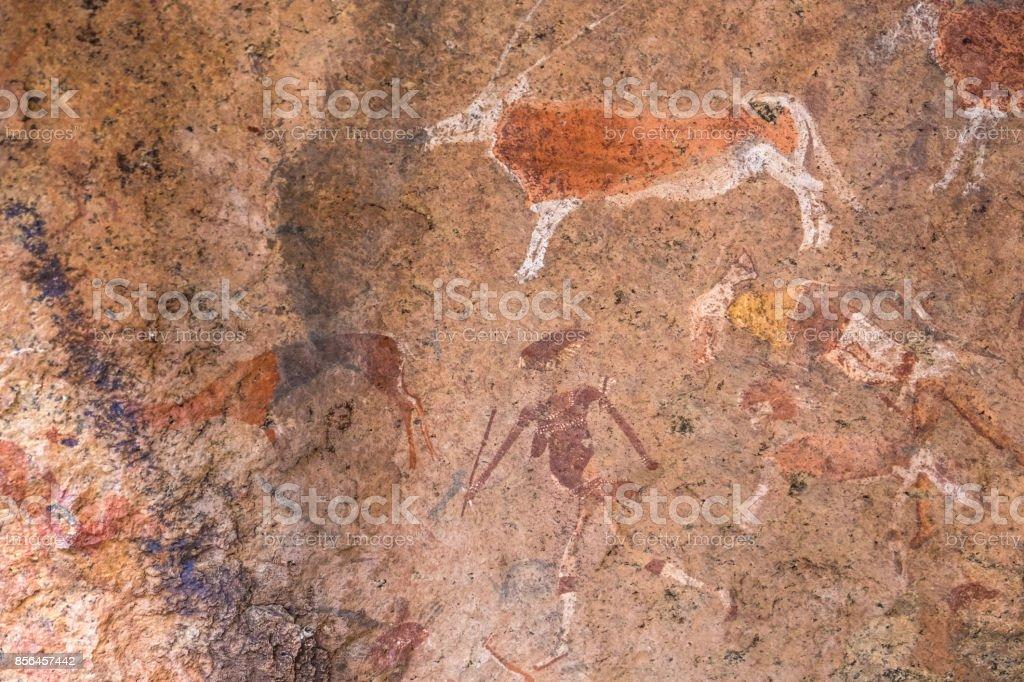 Bushmen rock paintings in the  Brandberg massif area, Namibia stock photo