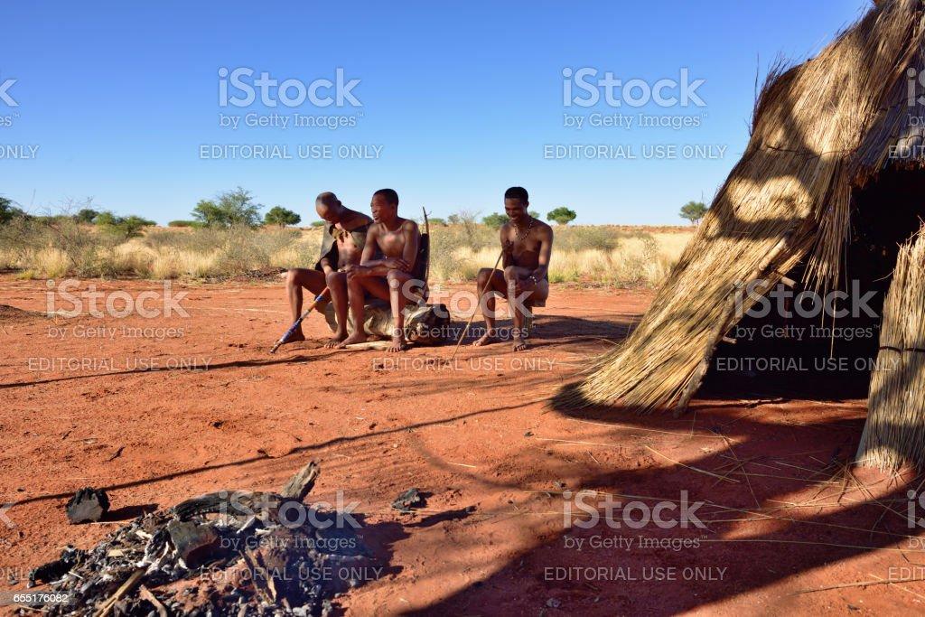 Bushmen village, Kalahari desert, Namibia stock photo