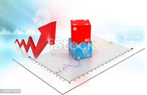 istock Busies arrow graph with dice 1048170702