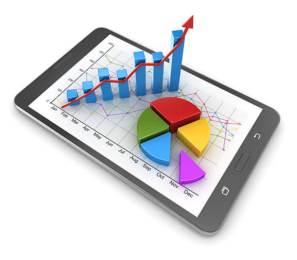 Busines concept with touch screen tablet stock photo