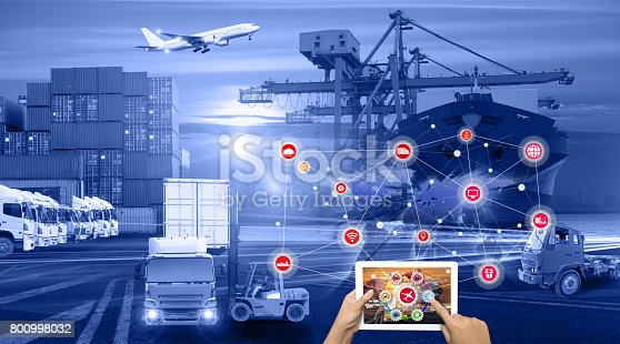 istock Busines Logistics concept, Logistics Industrial Container Cargo freight ship for Concept of fast or instant shipping, Online goods orders worldwide 800998032