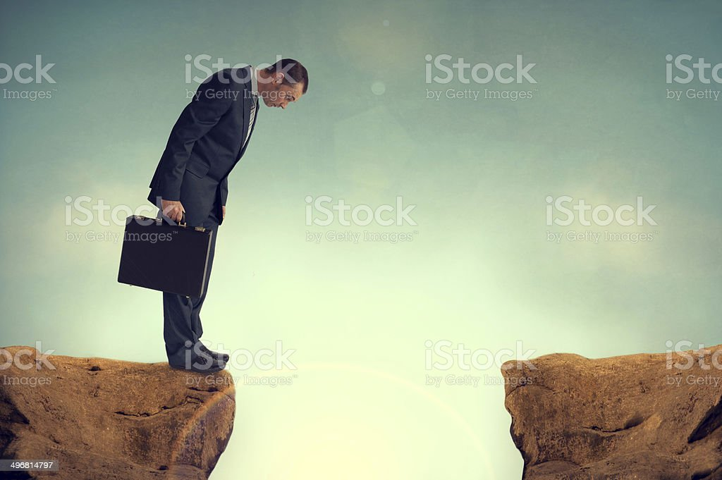 businesman facing a challenge stock photo