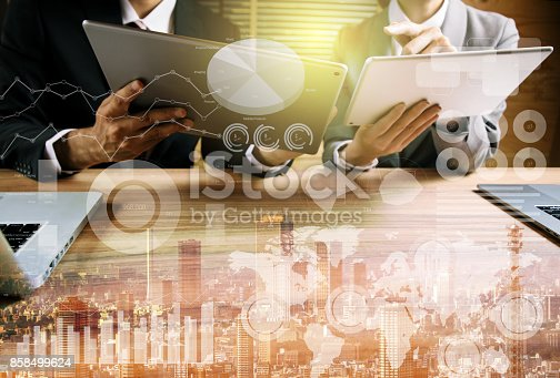 istock business abstract. businessperson and technology. mixed media. 858499624