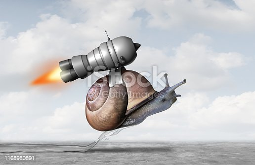 Business acceleration concept as a snail with a jet pack engine to accelerate success as a metaphor for innovation and finding a creative solution with 3D illustration elements.