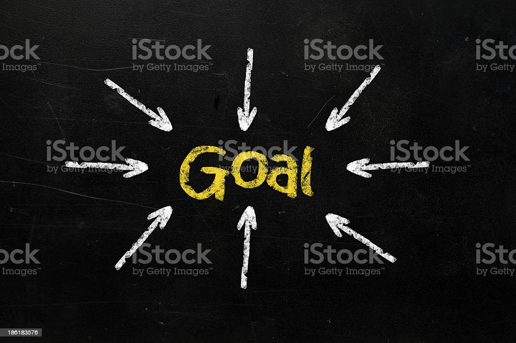 Business access the goal on chalkboard royalty-free stock photo