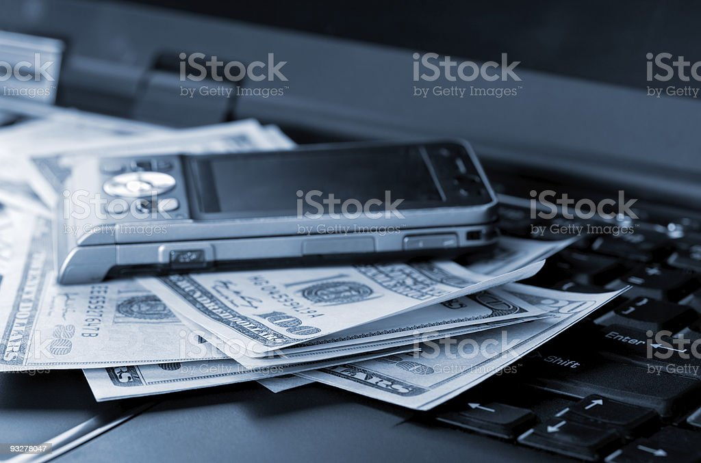 Business accessories and dollars royalty-free stock photo