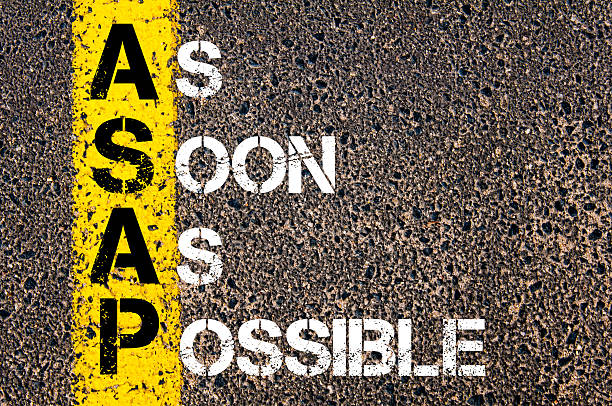 Business Acronym ASAP -  soon as possible Business Acronym ASAP -–  As soon as possible. Yellow paint line on the road against asphalt background. Conceptual image ASAP stock pictures, royalty-free photos & images