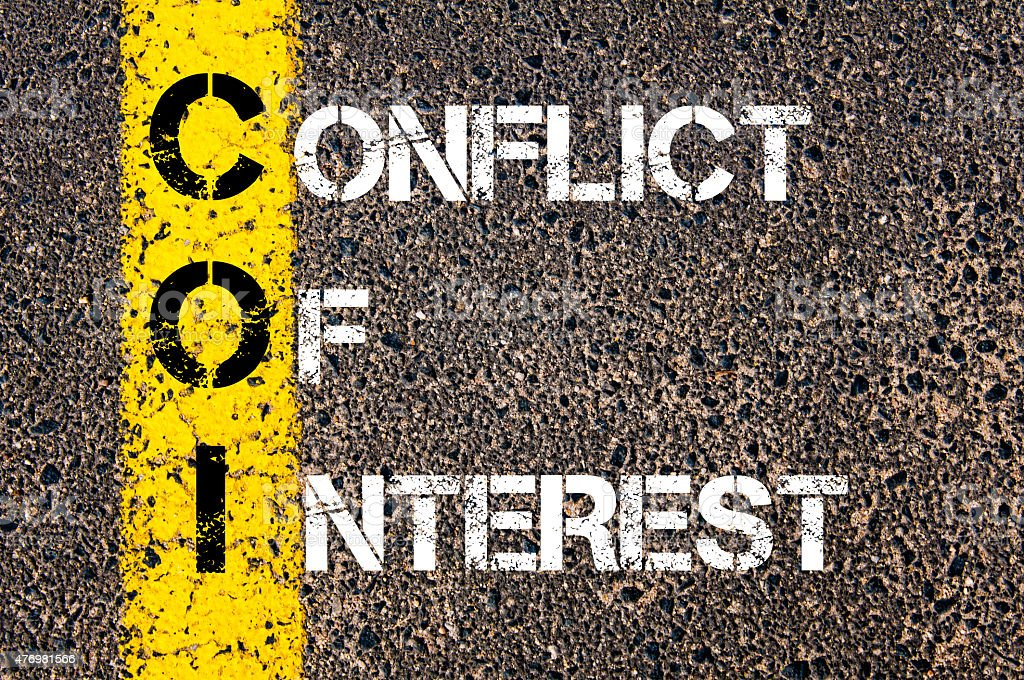 Business Acronym COI as CONFLICT OF INTEREST stock photo