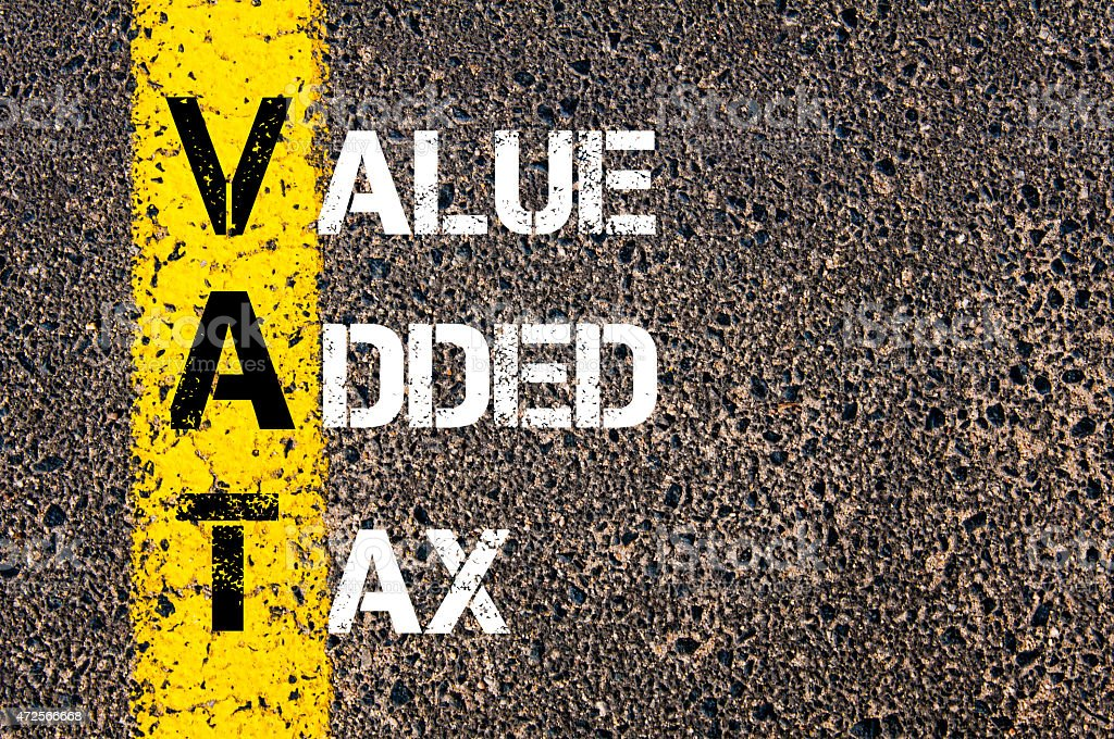 Business Acronym VAT as Value Added Tax stock photo