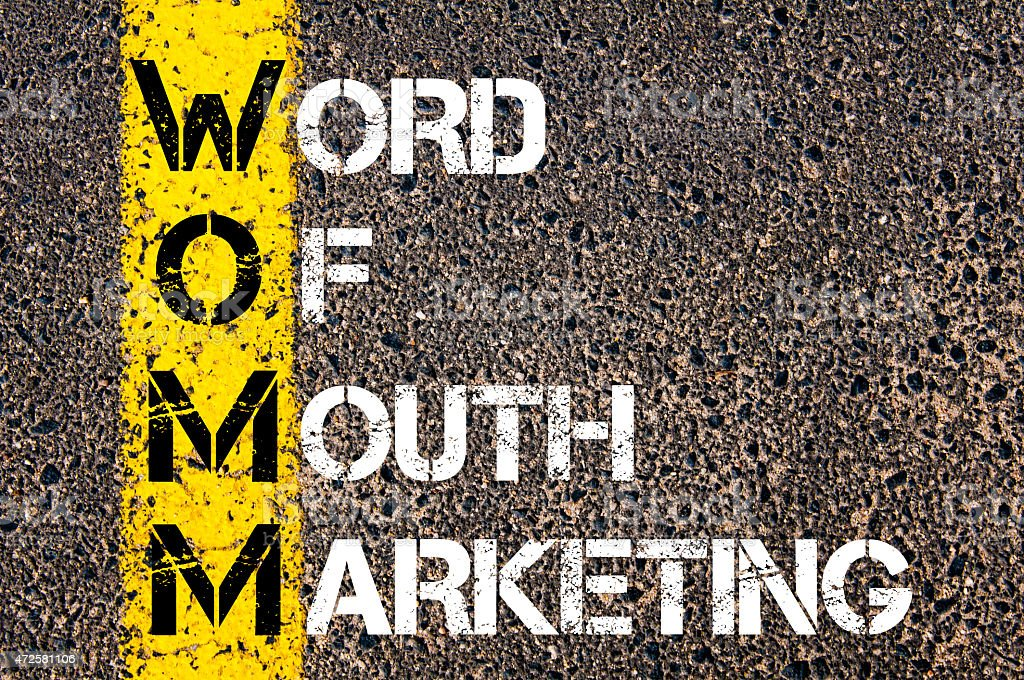 Business Acronym WOMM as WORD OF MOUTH MARKETING Business Acronym WOMM as WORD OF MOUTH MARKETING. Yellow paint line on the road against asphalt background. Conceptual image Single Word Stock Photo