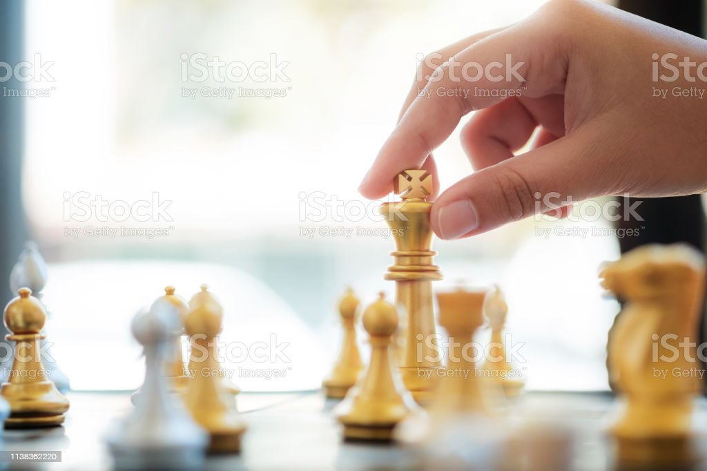 business administrator with chess board game, strategy and...