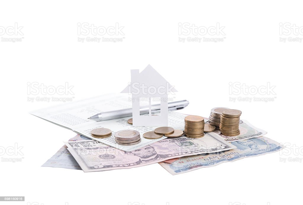 business advertisement family home concept and growing pile coin stock photo