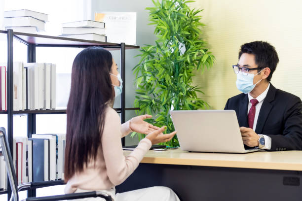 Business advisor advise customer about investment stock photo