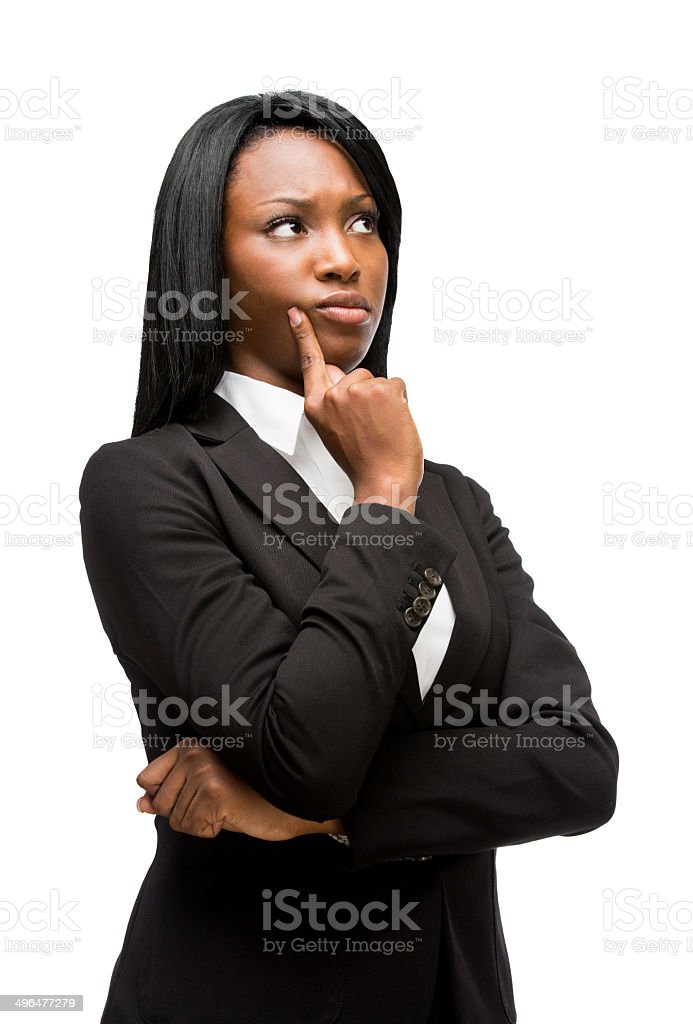 Business afroamerican woman thinking stock photo