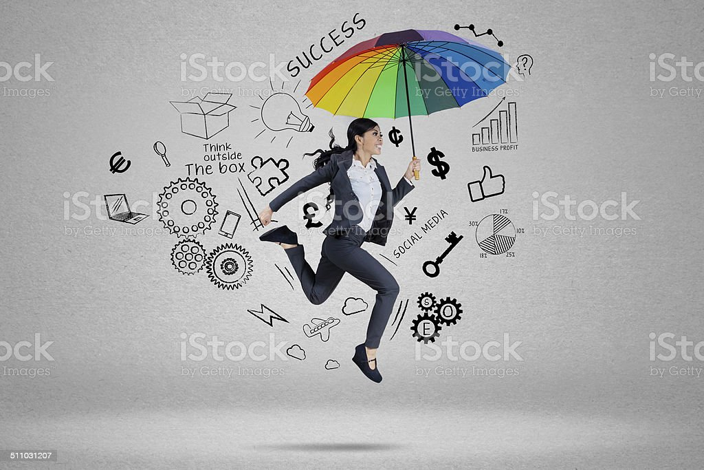 Business agent running for chasing her aim stock photo