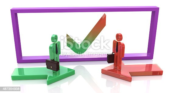 istock Business agreement. 3d people - human character, person with bri 487354938