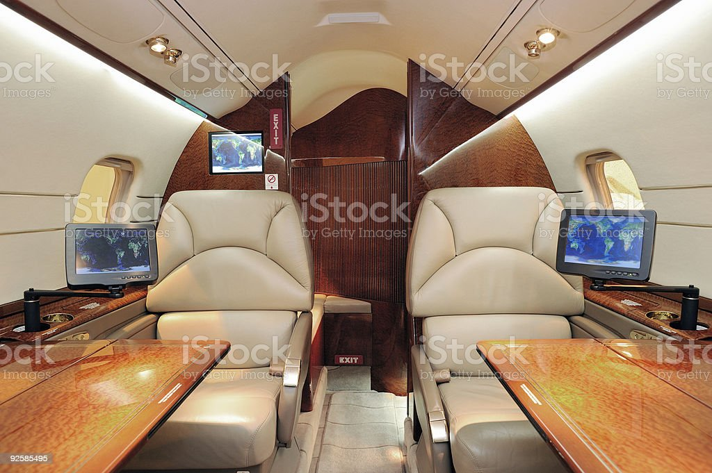 Business airplane interior stock photo
