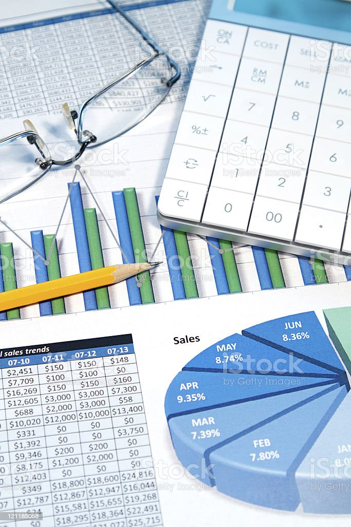 Business analogs of pie charts and numbers  royalty-free stock photo