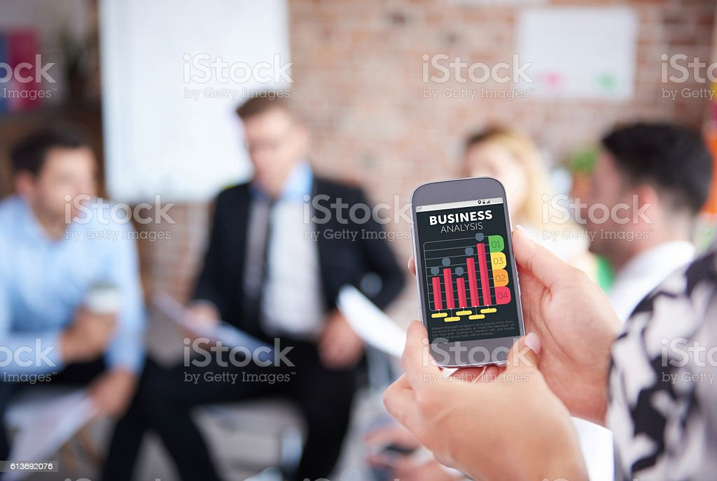 Business analysis on the phone stock photo