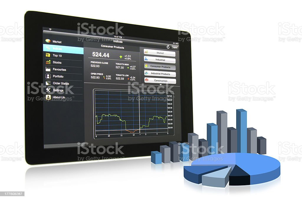 Business analysis on touch pad stock photo