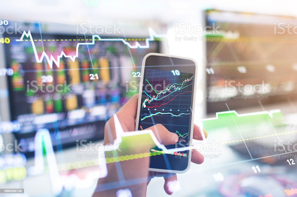 Business Analysis stock market and finance economic in office stock photo