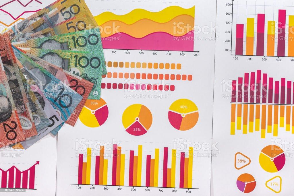 Business analysis with australian dollars on graphs stock photo