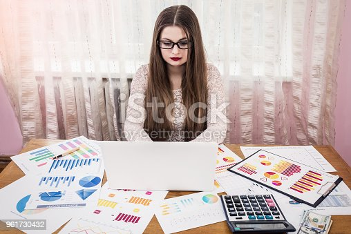 istock Business analyst working on laptop with reports 961730432