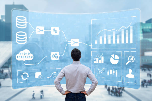 Business Analytics and Data Management System (DMS) giving key insights for corporate strategy. Concept with expert analyst building visualization with KPI and metrics from database information stock photo