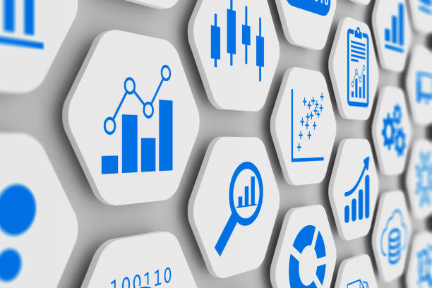 Business analytics and data science concept with graph and chart icons on 3D hexagonal grid, abstract illustration of KPI, metrics, information dashboard and analysis with clean modern design stock photo