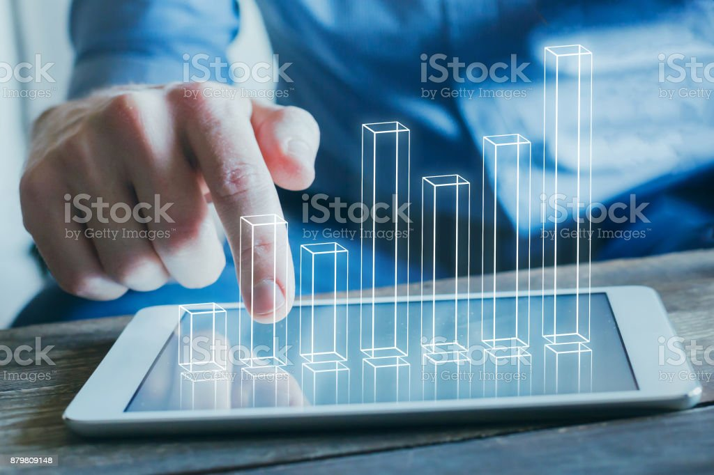 business analytics and financial technology concept - Foto stock royalty-free di Adulto