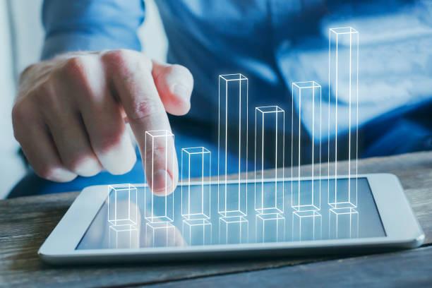 business analytics and financial technology concept - modello dimostrativo foto e immagini stock
