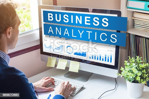850852928istockphoto Business analytics and metrics for strategic decisions based on insights, data mining and modeling technology, analyst businessman working on computer in office 989620880