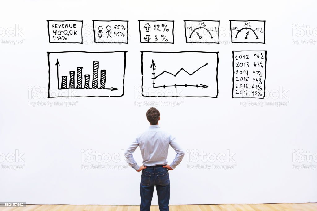 business analytics concept, businessman looking at dashboard with charts stock photo