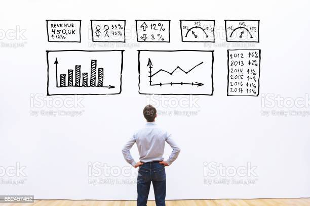Business Analytics Concept Businessman Looking At Dashboard With Charts Stock Photo - Download Image Now