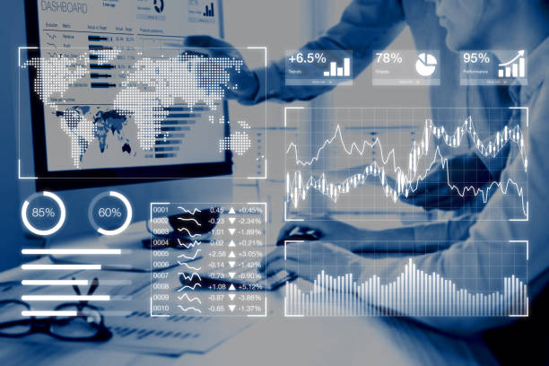 business analytics dashboard reporting concept with kpi, people analyzing data - digital marketing stock photos and pictures